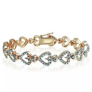"New .35ctw Diamond Hearts Tennis Bracelet 7.5""!"